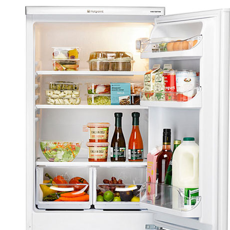 hotpoint fridge freezer showing door and door storage