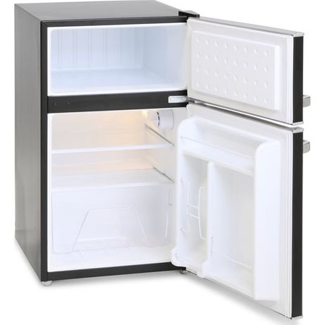Montpellier retro fridge freezer black with the doors open and nothing inside