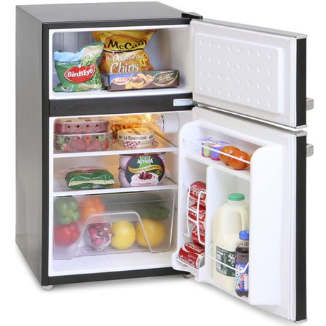 Montpellier retro fridge freezer, black with the doors open and contents inside
