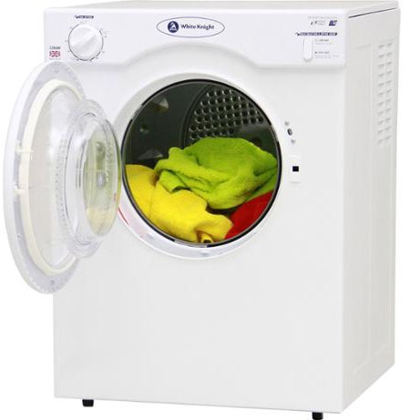 white knight compact tumble dryer with the door open and some clothes inside