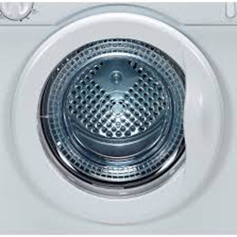 close view of the white knight compact tumble dryer with the door closed
