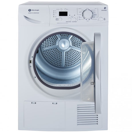 white knight condenser dryer with the door open