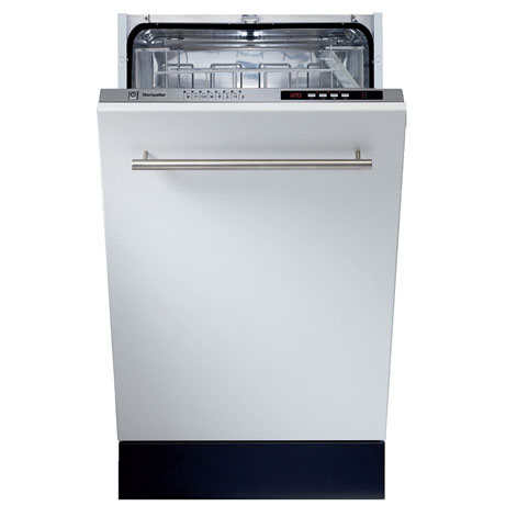 Montpellier fully integrated dishwasher with the door partially open