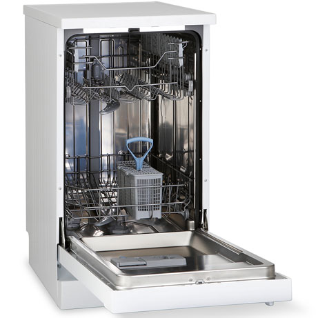 Montpellier slimline dishwasher with the door open