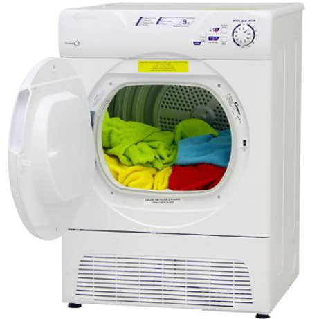 Candy condenser dryer with the door open and clothes inside