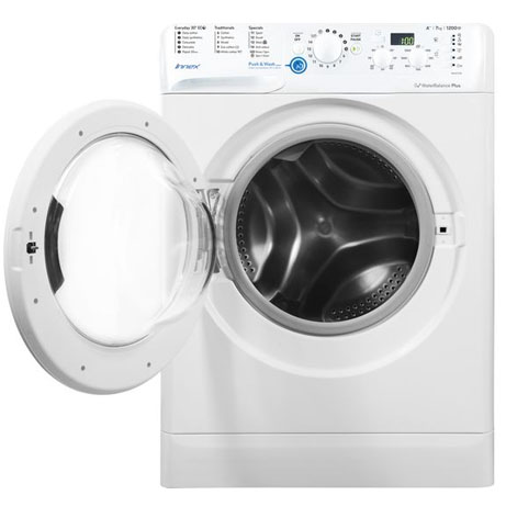 Indesit washing machine with the door open