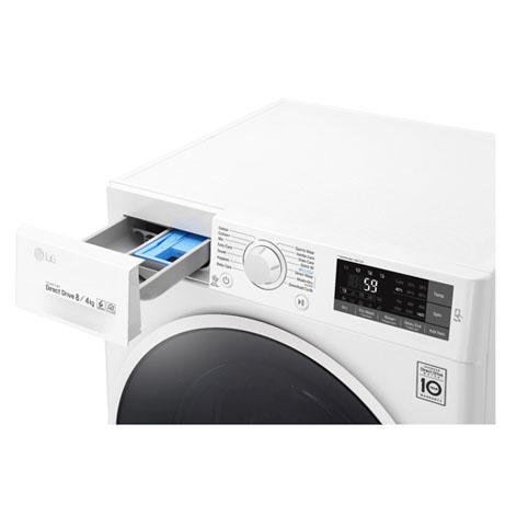 LG WASHER DRYER WITH THE SOAP DRAWER OPEN