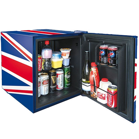 union jack drinks chiller with the door open