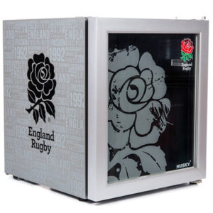 England Rugby Drinks Chiller side angle glass door