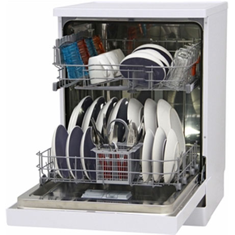 hotpoint dishwasher with the door open and fully loaded