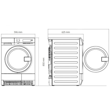 Electrolux Condenser Dryer (professional) dimensions diagram