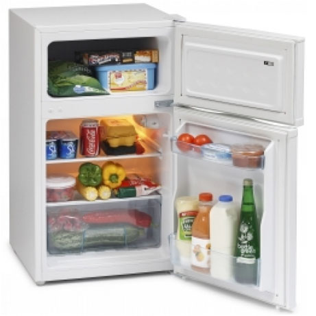 ICEKING UNDERCOUNTER FRIDGE FREEZER WITH THE DOORS OPEN