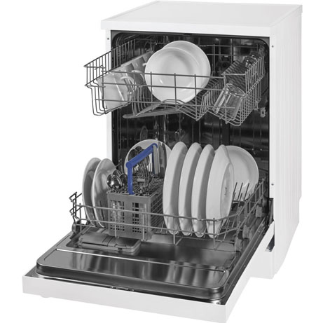 beko dishwasher with the door open and loaded
