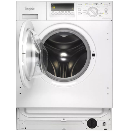 whirlpool integrated washing machine with the door open