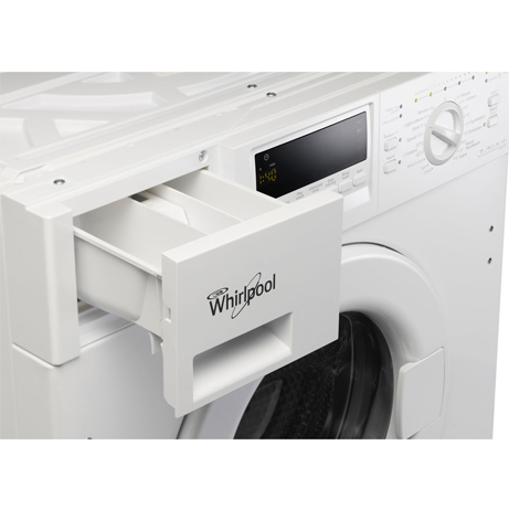 whirlpool integrated washing machine with the soap drawer open