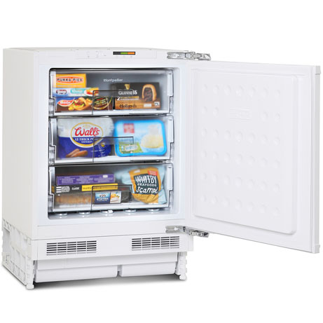 montpellier integrated freezer with the door open and with food inside