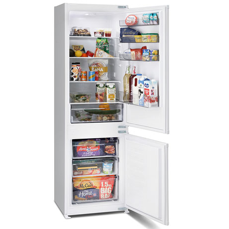 montpellier integrated fridge freezer with the doors open and food inside