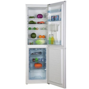 candy fridge freezer with water dispenser and the doors open