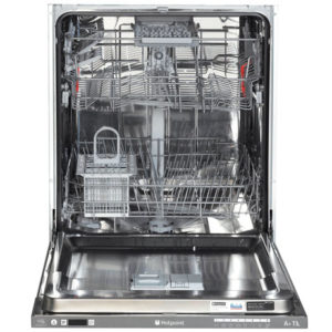 hotpoint integrated dishwasher with the door open