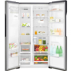 lg fridge freezer with the doors open and stocked with food