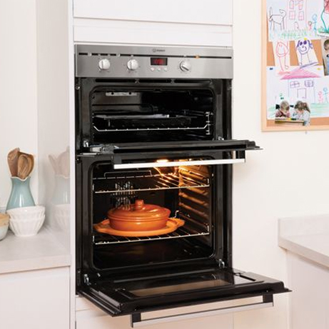 Indesit double oven in a kitchen housing