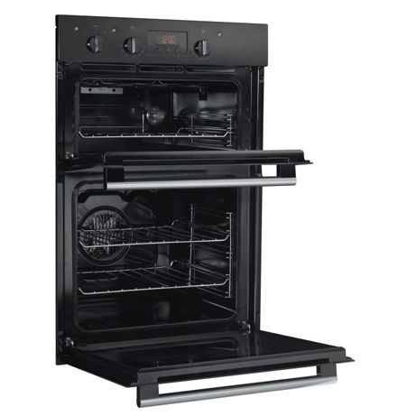 Hotpoint double oven with the doors open and on an angle