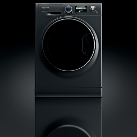 Hotpoint washing machine with black reflective background