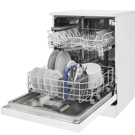 BEKO DISHWASHER LOADED WITH THE BASKETS OPEN