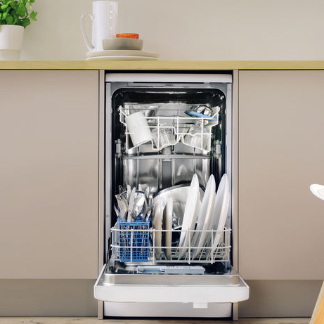 Indesit Slimline Dishwasher with the door open