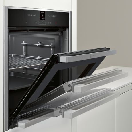 neff slide and hide oven with door partially open
