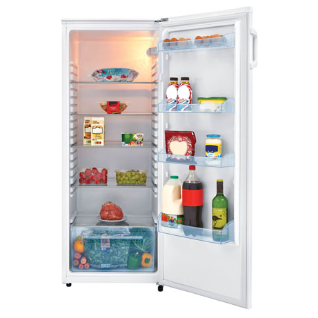 Fridgemaster Tall Larder Fridge with the door open and food on the shelves