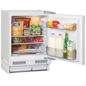 Fridgemaster Built-Under larder fridge with the door open and food inside