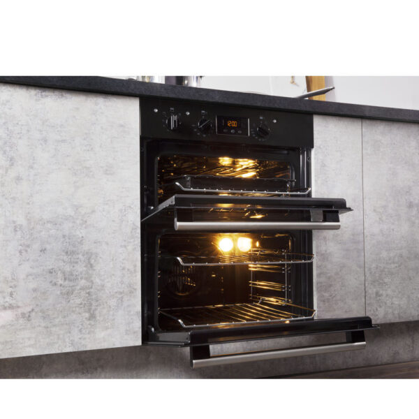 Hotpoint Built-Under Double Oven with the doors part open