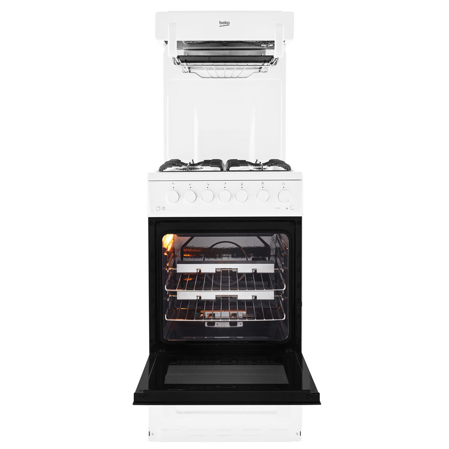 Beko Gas Cooker With Eye Level Grill with the door open