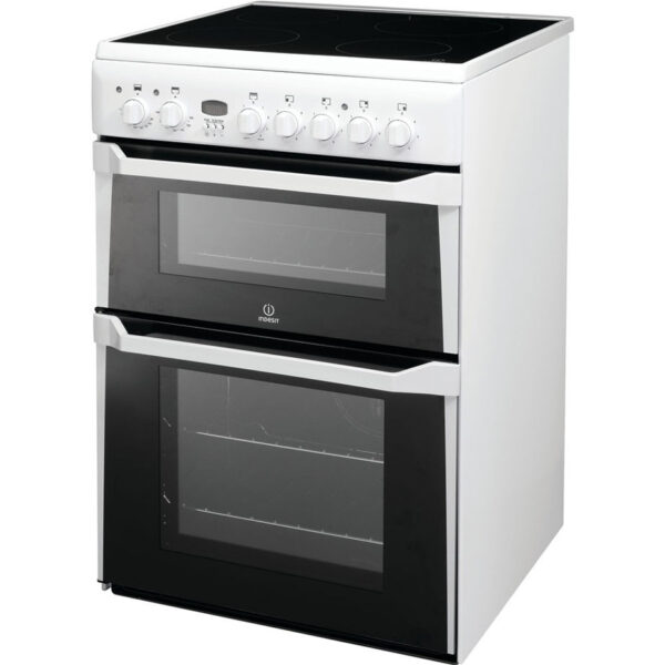 Indesit Cooker with double oven and ceramic hob on an angle