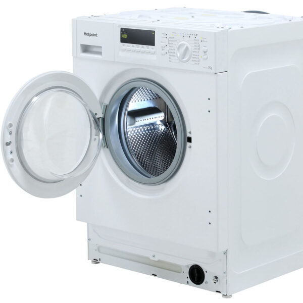Integrated Hotpoint Washing Machine on an angle with the door open