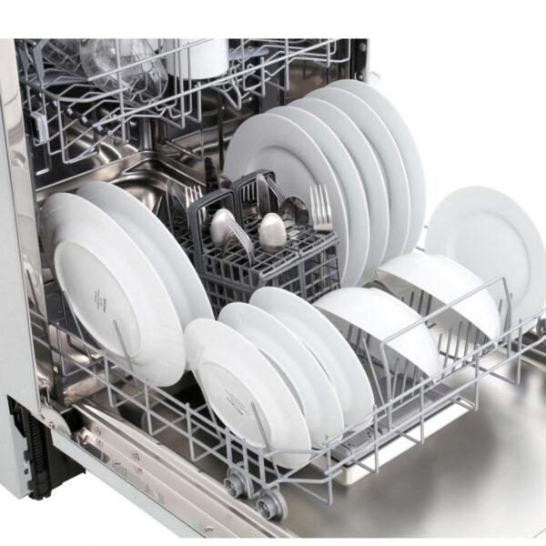 Hoover Integrated Dishwasher with the door open and pots inside