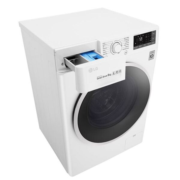 LG washing machine angled with the soap drawer open