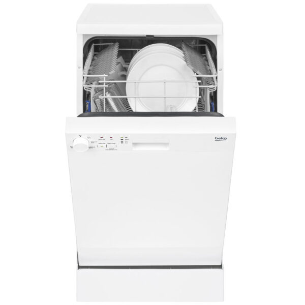 Beko slimline dishwasher with the door open