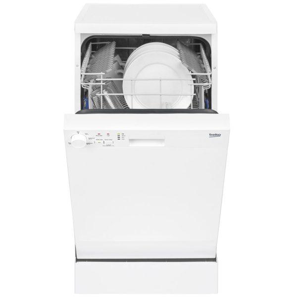 Beko slimline dishwasher with the door open