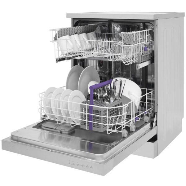 BEKO DISHWASHER WITH THE DOOR OPEN AND BASKETS OUT