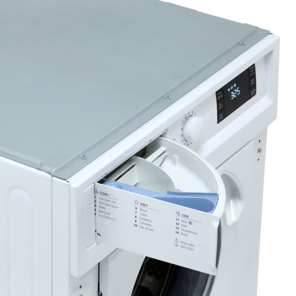 Hotpoint Integrated Washing Machine with the soap dispenser open