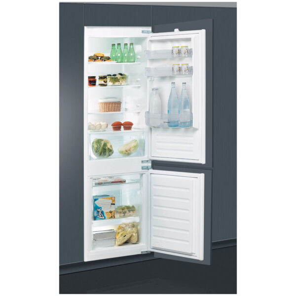 Indesit Integrated Fridge Freezer built in with the doors open