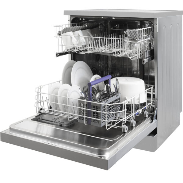 Beko Freestanding Dishwasher with the baskets pulled out