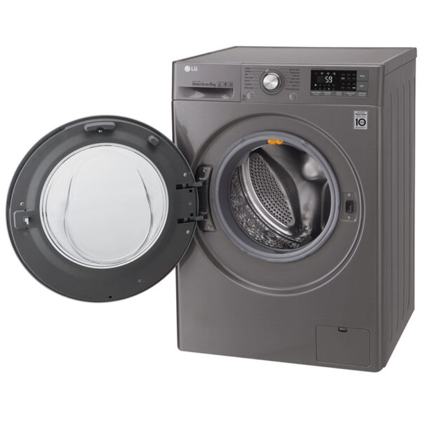 LG Washing Machine - Silver angled view with the door open