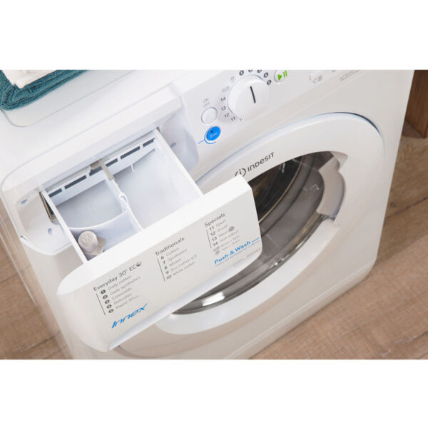 Indesit Washing Machine 9kg, 1400spin with the soap drawer open
