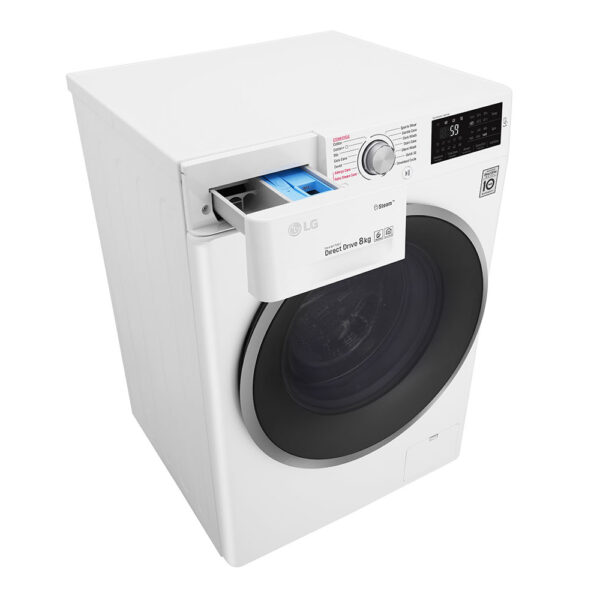 LG Washing Machine with the soap drawer open
