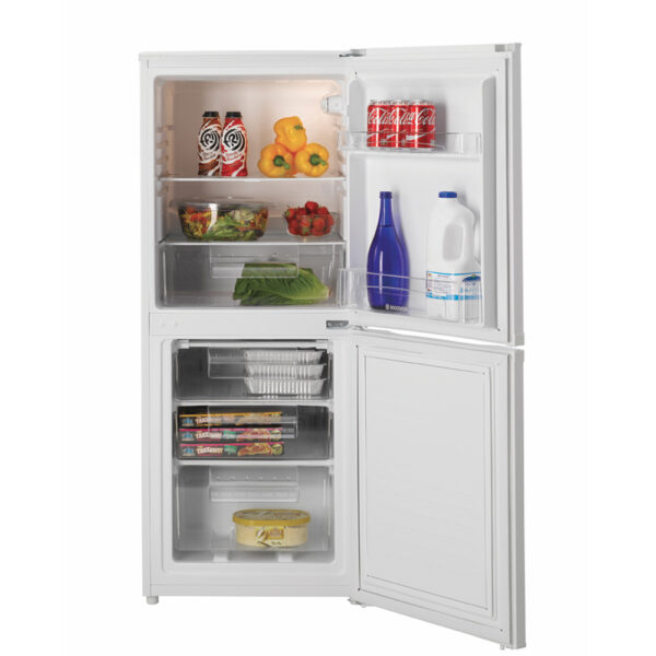 Hoover Fridge Freezer with the doors open and food inside