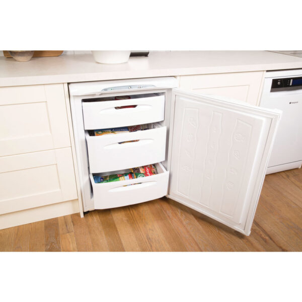 Hotpoint Freezer with the door and drawers open