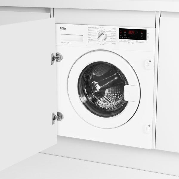 Beko Integrated Washing Machine on an angle